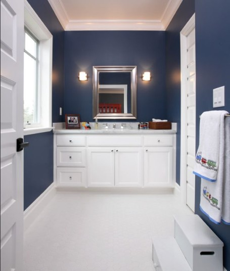 Red white and blue bathroom accessories